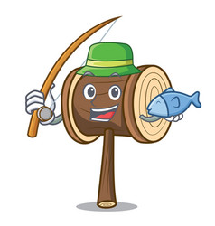 Fishing mallet mascot cartoon style vector