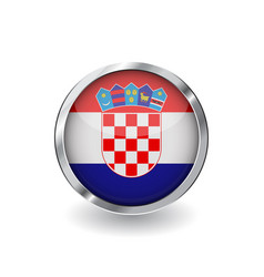 flag of croatia button with metal frame and vector image