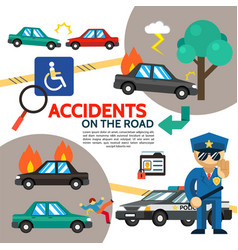 Flat road accident poster vector