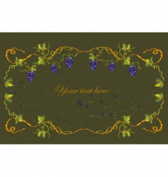 floral frame with grape vector image