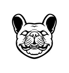 french bulldog mascot logo black and white bulldog vector image