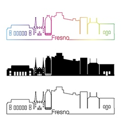 Fresno V2 skyline linear style with rainbow vector image