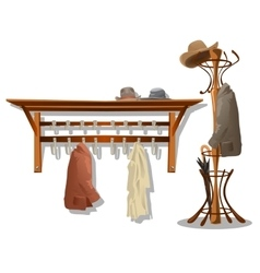 Furniture in dressing room coat hooks in hallway vector image