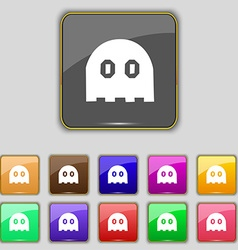 Ghost icon sign Set with eleven colored buttons vector image