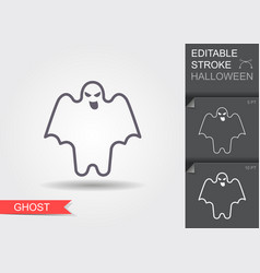 ghost line icon with editable stroke with shadow vector image