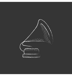 Gramophone Drawn in chalk icon vector