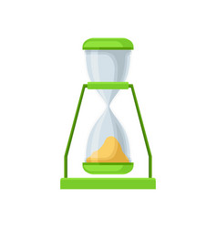 green sand hourglass sandglass device for vector image