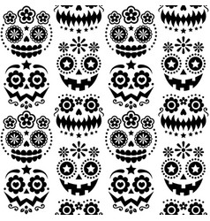 halloween and dia de los muertos skulls pattern vector image