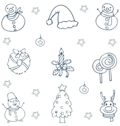 Hand draw christmas collection doodle vector image