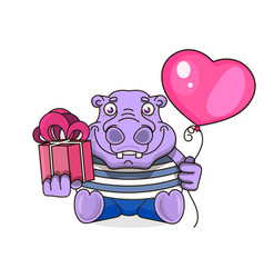 Happy birthday card with cute hippo vector