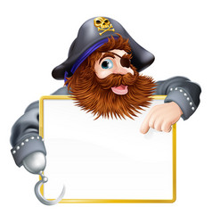 happy pirate pointing at sign vector image