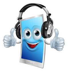 headphones phone man vector image
