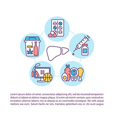 Hepatitis viruses prevention concept line icons vector