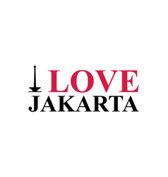 i love jakarta word text with handwritten font vector image