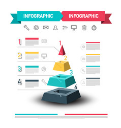infographic design with pyramid and data flow web vector image