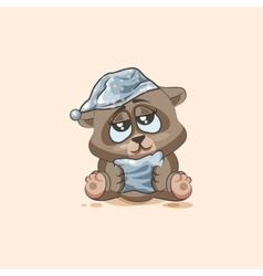 isolated Emoji character cartoon sleepy Bear in vector image
