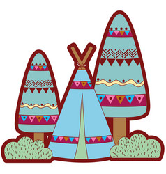 Line color ethnic camp with trees and bushes plant vector