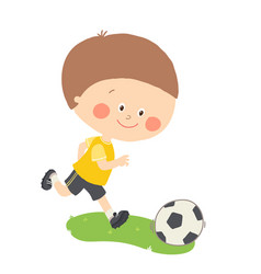 Little boy playing soccer child kicking football vector
