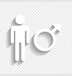 Male sign white icon with vector