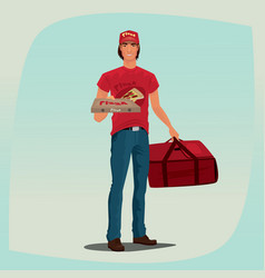 man holding pizza box and courier bag vector image