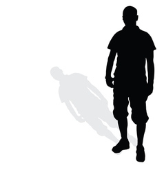 man standing silhouette black vector image