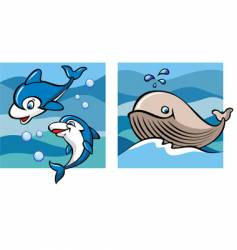 Marine life dolphins and whale vector