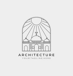 Mosque architecture ramadan mubarak logo design vector