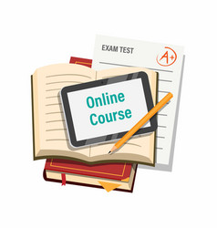 Online course with book tab and exam paper symbol vector