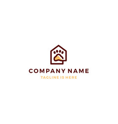 outline monoline home house paw icon logo template vector image