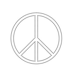 peace sign black dotted icon vector image