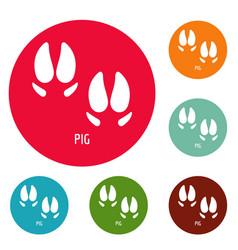 pig step icons circle set vector image