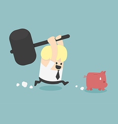 piggy bank to be destroyed vector image