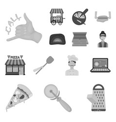 Pizza and pizzeria monochrome icons in set vector