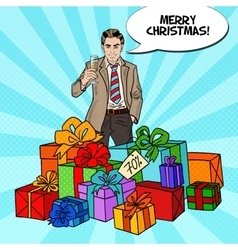 Pop Art Man with Gift Boxes and Champagne Glass vector image vector image