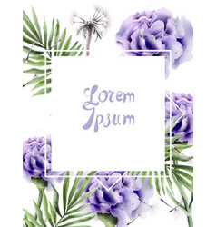 purple flowers and dandelion watercolor summer vector image