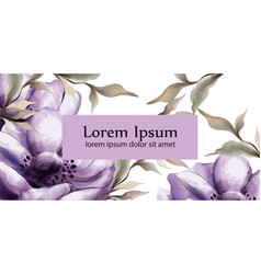 purple flowers watercolor background vector image