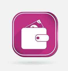 Purse sign Color square icon vector