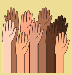 raised hands for volunteering concept vector image