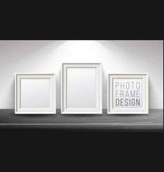 Realistic blank picture frame light wood vector