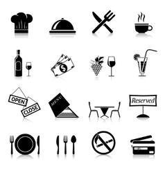 Restaurant Icons Black vector image
