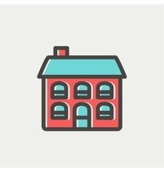 Retro flat house thin line icon vector image