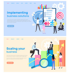scaling business and implementation of solution vector image