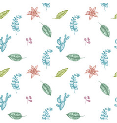seamless pattern with hand drawn pastel ficus vector image