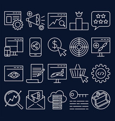 search engine optimization icon set in thin line vector image