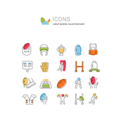Set line icons rugby vector