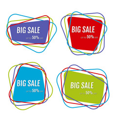 set of four big sale stickers vector image