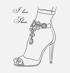 sketch shoes decorative vector image