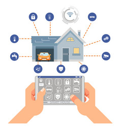 smart house control system technology mobile vector image