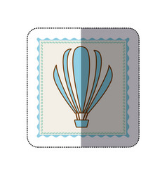 sticker frame with silhouette of hot air balloon vector image