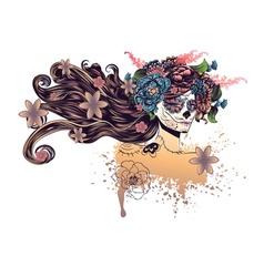 Sugar Skull Girl in Flower Crown9 vector image